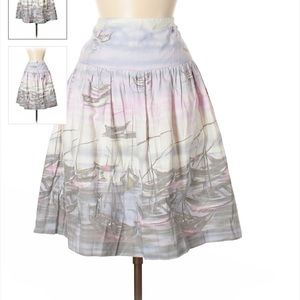 Anthropologie Odille Watercolor Sailboat Skirt 6
